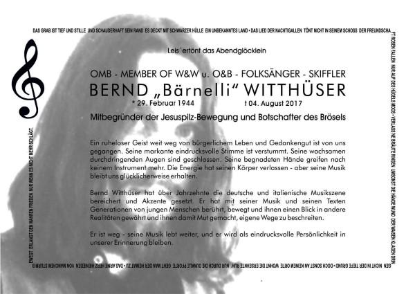 Nachruf Bernd Witthüser